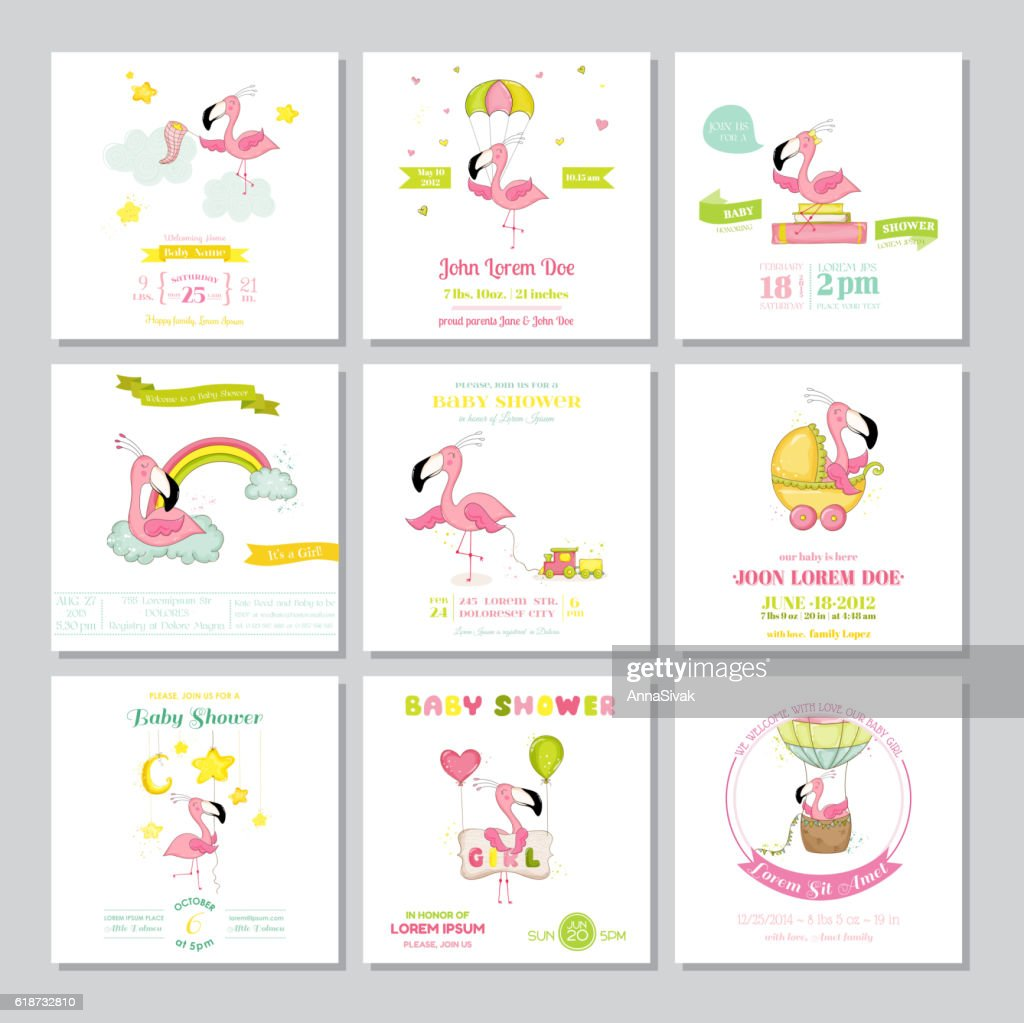 Baby Shower or Arrival Card Baby Flamingo Girl Big Set