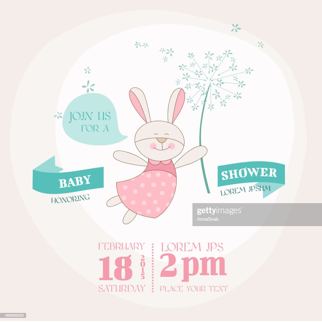 Baby Shower or Arrival Card - Bunny with Flower