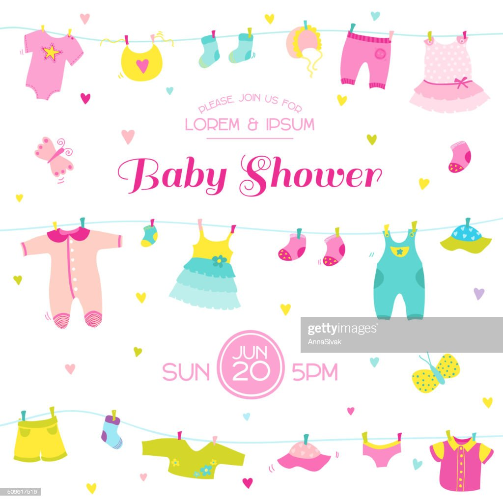 Baby Shower or Arrival Card - Cute Baby Girl Elements