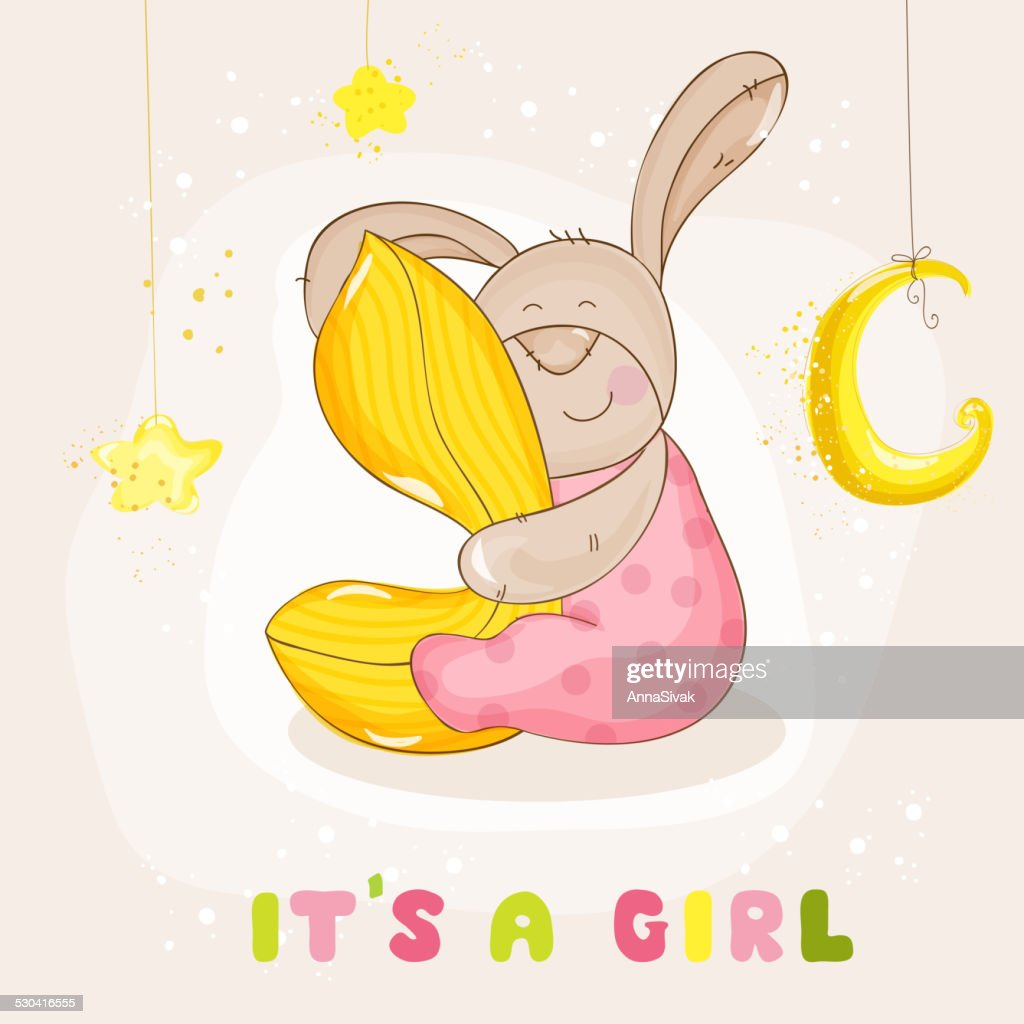 Baby Shower or Arrival Card - with Baby Bunny