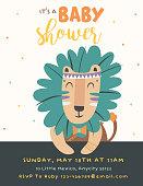 Baby Shower party invitation card with cartoon tribal animal. Vector illustration - Vector