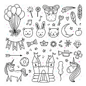 Baby shower vector set. Children's party hand drawn vector illustrations with toys, gifts, unicorns and animals