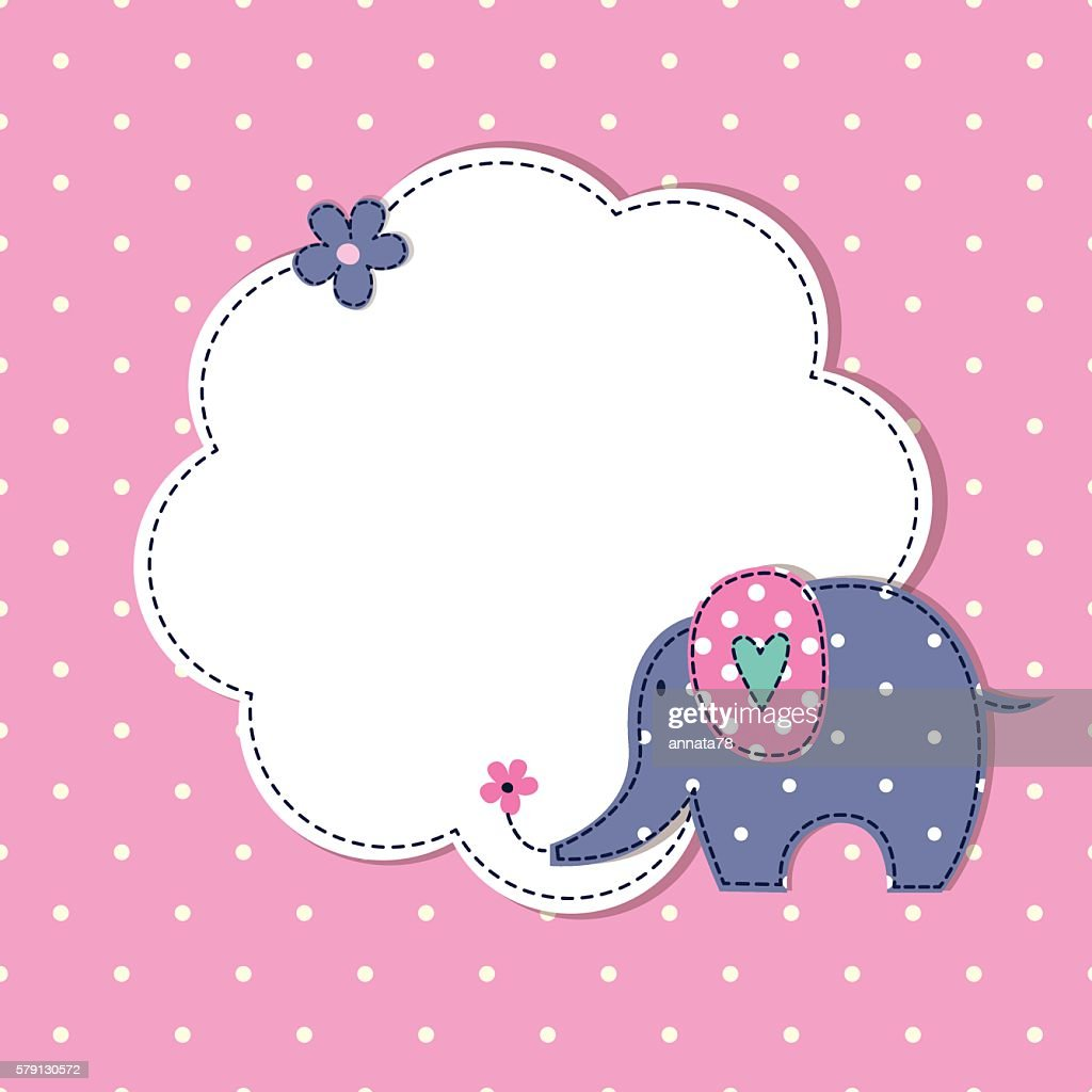 Baby shower with cute cartoon elephant