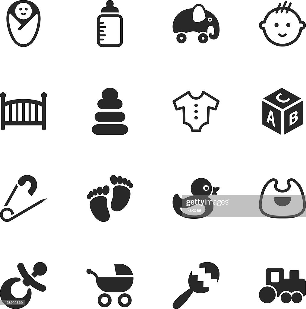 Baby Silhouette Icons : stock illustration