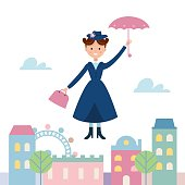 Baby Sitter Flying Over the Town. Vector Illustration