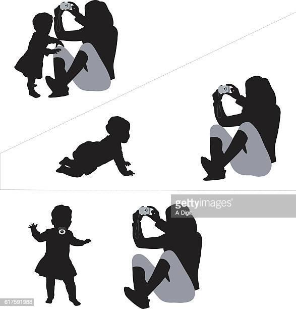 ilustrações, clipart, desenhos animados e ícones de baby standing crawling and walking silhouette vector - engatinhando