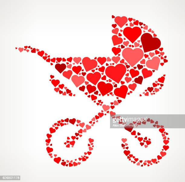 baby stroller red hearts love pattern - three wheeled pushchair stock illustrations, clip art, cartoons, & icons
