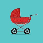 Baby stroller red isolated on blue background. Children pram, baby carriage
