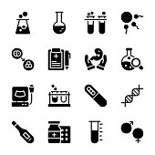 Baby Test Tubes Solid Icons Pack