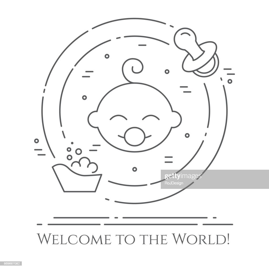 Baby theme horizontal banner. Pictograms of baby, bathtub and pacifier in a circle. Newborn related elements. Line out symbols.