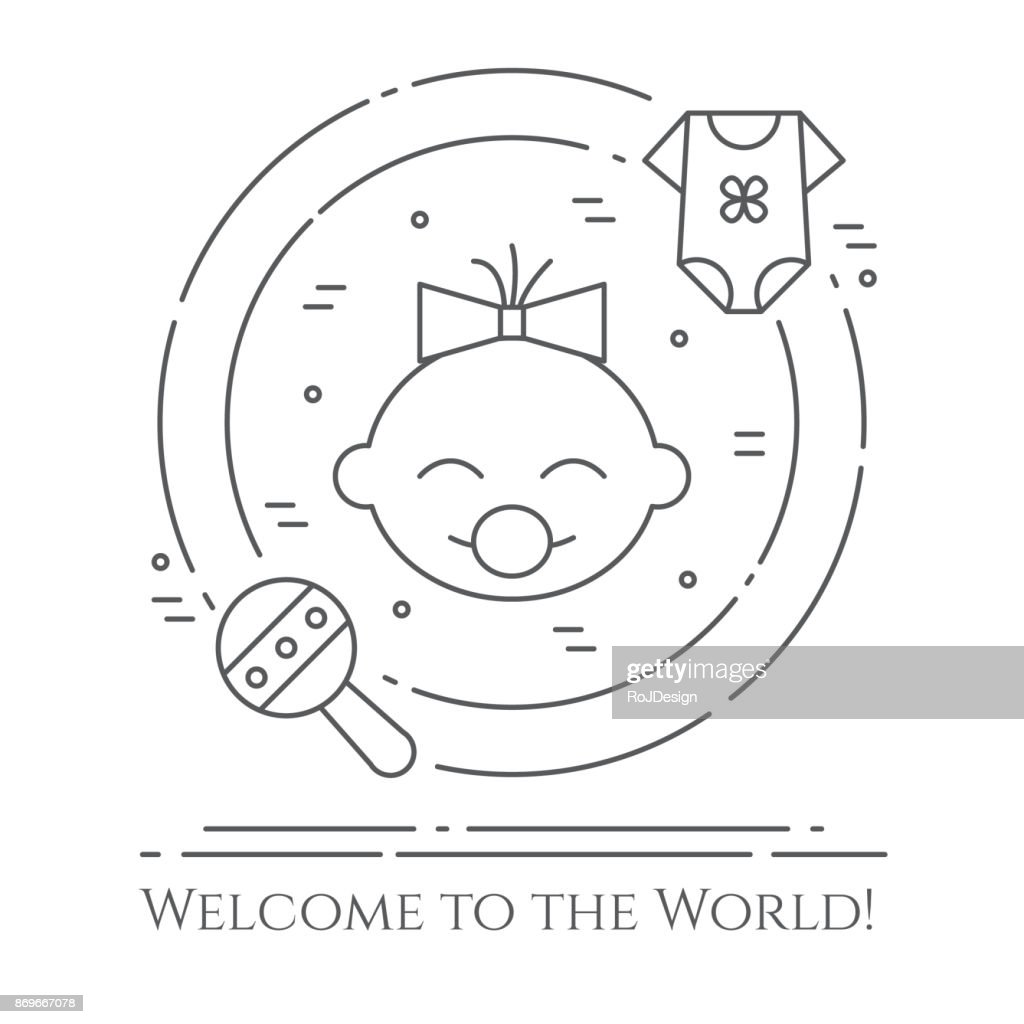 Baby theme horizontal banner. Pictograms of baby, cloth and rattle in a circle. Newborn related elements. Line out symbols.