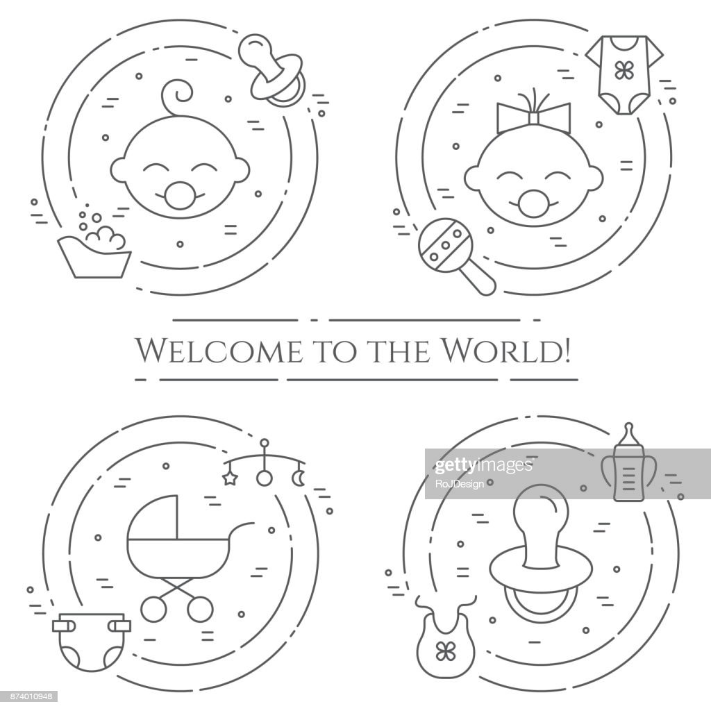 Baby theme horizontal banner. Pictograms of baby, pram, crib, mobile, toys, rattle, bottle, diaper, bathtub, cloth, bib and other newborn related elements. Line out symbols