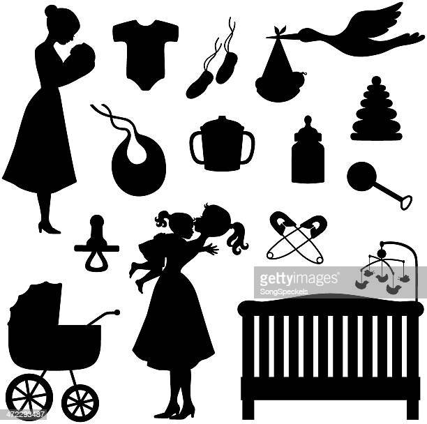 baby theme icons and silhouettes - infant bodysuit stock illustrations