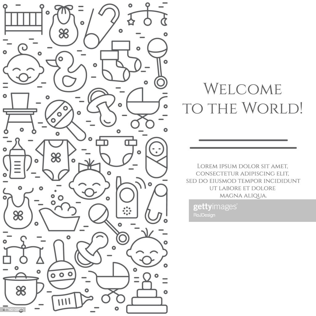 Baby theme vertical banner. Pictograms of baby, pram, crib, mobile, toys, rattle, bottle, diaper, bathtub, cloth, bib and other newborn related elements. Line out symbols