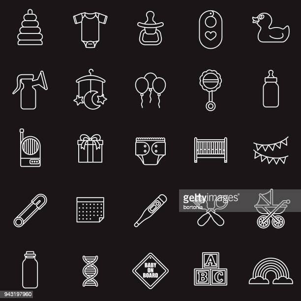 ilustraciones, imágenes clip art, dibujos animados e iconos de stock de conjunto de iconos de delgada línea bebé - lactancia materna