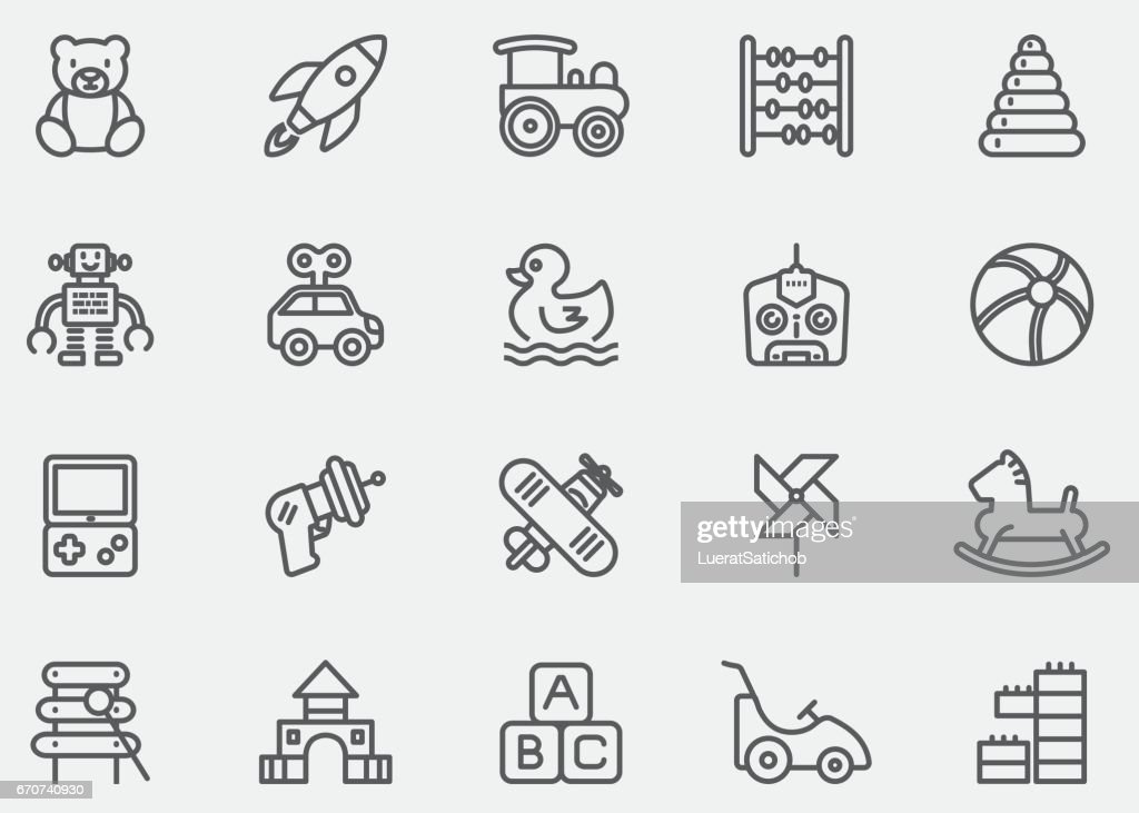 Baby Toy Line Icons | EPS10 : stock illustration