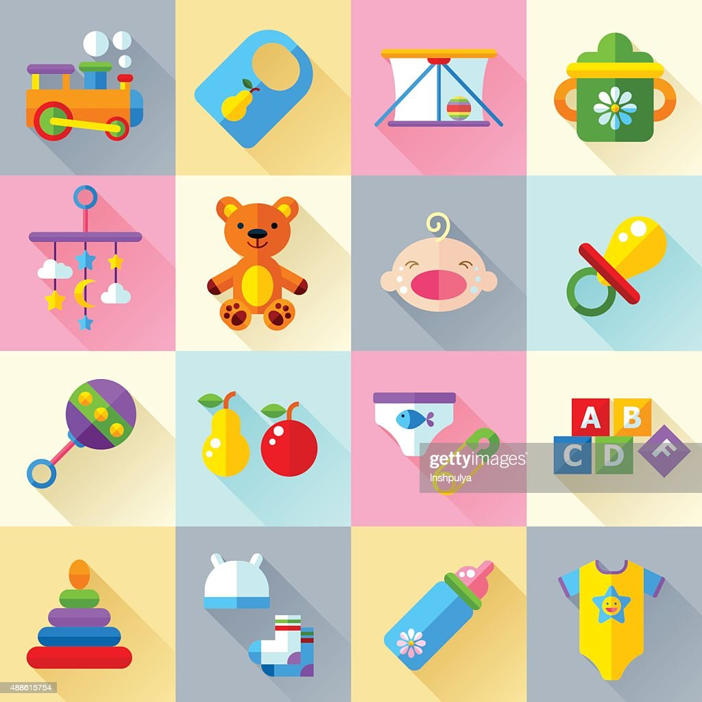 Baby toys and care icon set