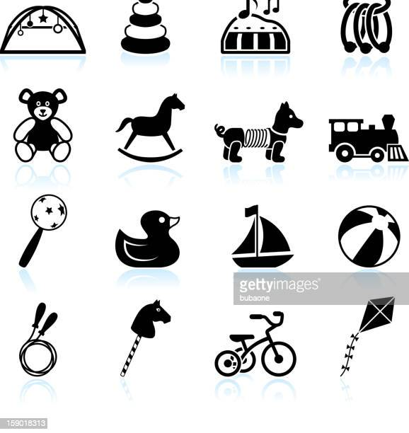 baby toys black & white royalty free vector icon set