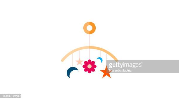 stockillustraties, clipart, cartoons en iconen met baby speelgoed hanger - mobile