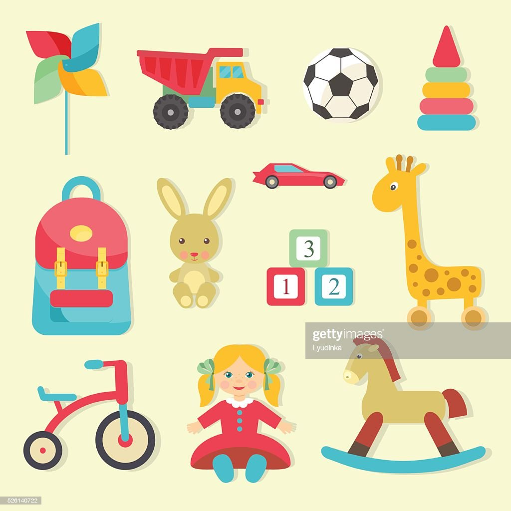 Baby toys icons. Flat style vector illustration.