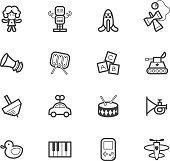 baby toys vector black icon set on white background