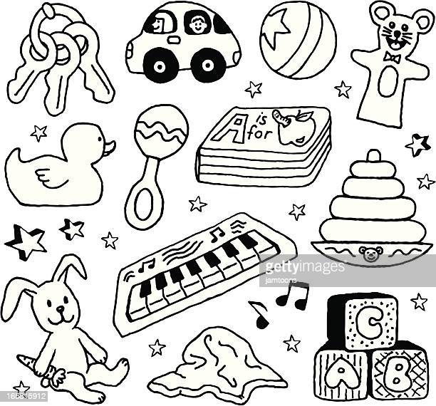 baby toys - blanket stock illustrations, clip art, cartoons, & icons