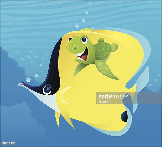 baby turtle and butterfly fish - butterflyfish stock illustrations, clip art, cartoons, & icons