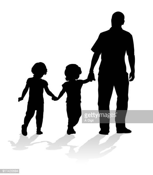 baby twin sisters and dad - child care stock illustrations