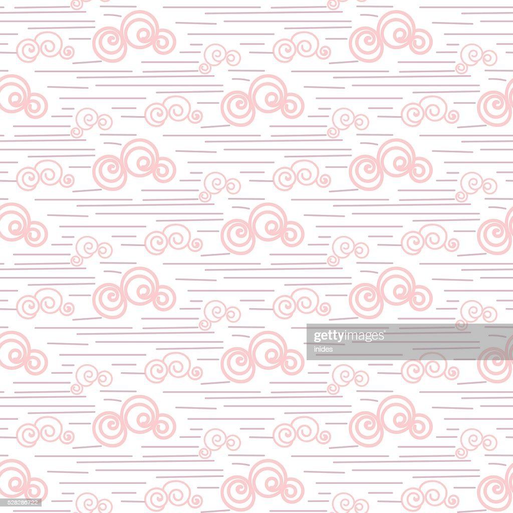 Baby vector seamless pattern. Pastel pink fun windy sky clouds