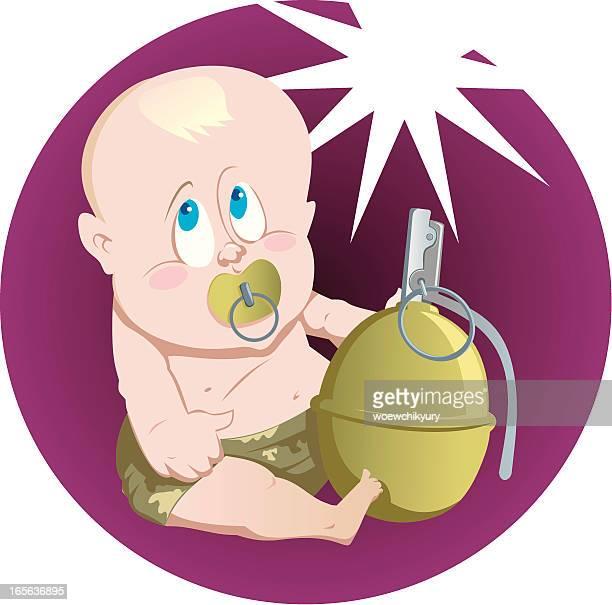 ilustraciones, imágenes clip art, dibujos animados e iconos de stock de bebé con grenade - maltrato infantil