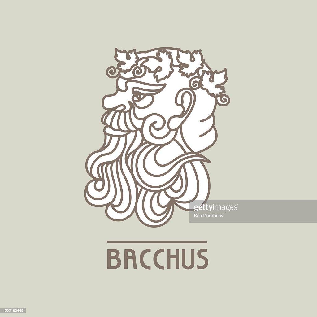 Bacchus. The God of wine. Vector logo.