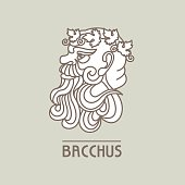 Bacchus. The God of wine. Vector logo.