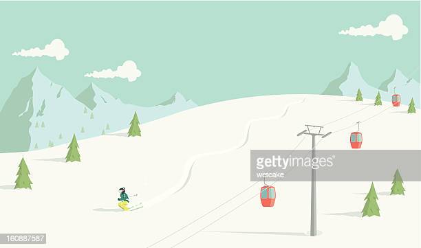 back country skiing - horizontal stock illustrations