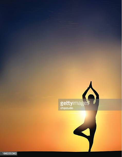 Back lightened silhouette with yoga pose