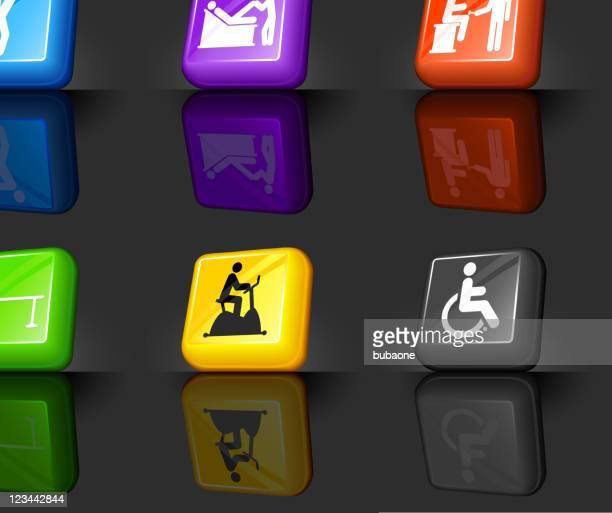 背中の痛みやセラピーインターネットロイヤリティフリーのベクターアイコンセット - カイロプラクター点のイラスト素材/クリップアート素材/マンガ素材/アイコン素材
