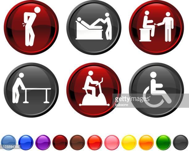 背中の痛みやセラピーロイヤリティフリーのベクターアイコンセット - カイロプラクター点のイラスト素材/クリップアート素材/マンガ素材/アイコン素材