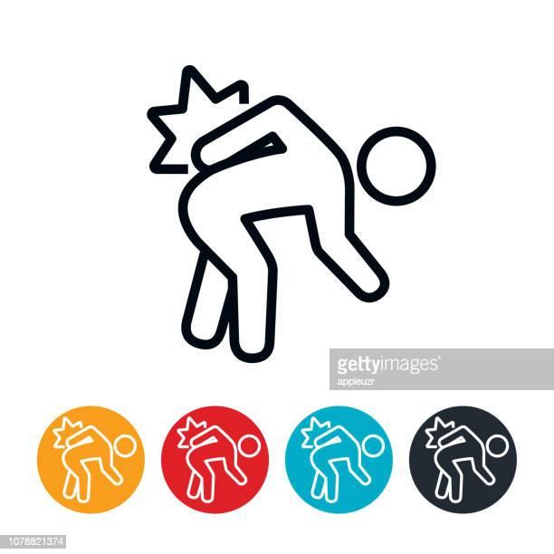illustrations, cliparts, dessins animés et icônes de icône de maux de dos - mal de dos