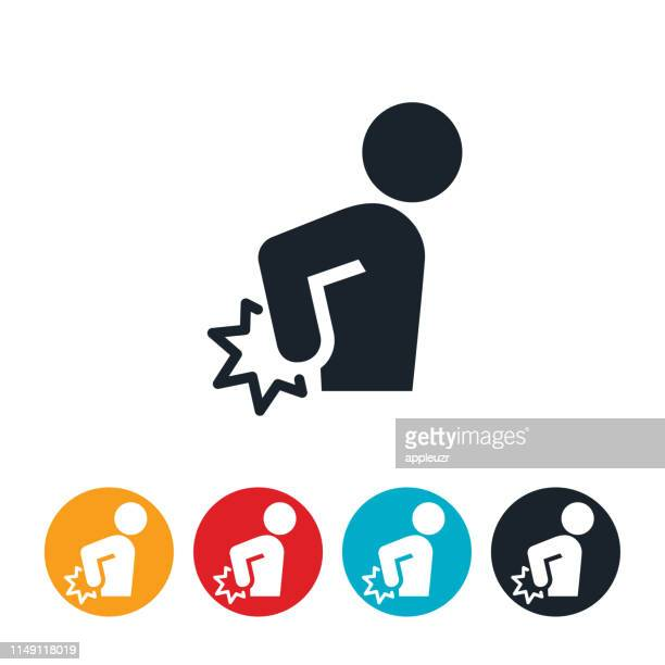 back pain icon - pain stock illustrations