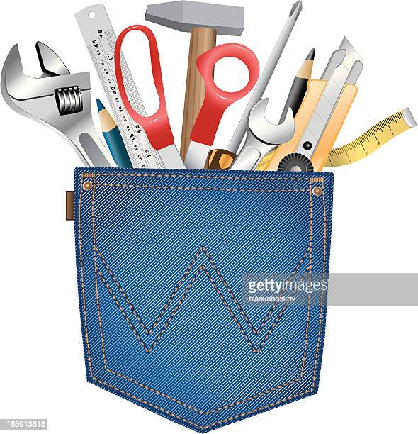 back pocket with tools - inch stock illustrations