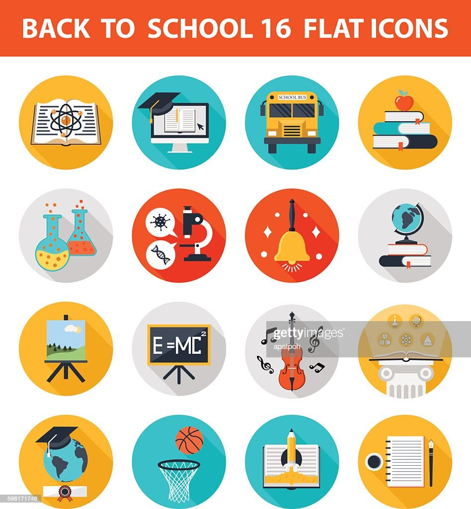 Back to school 16 flat icons