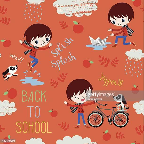 Back to School. Autumn Pattern.