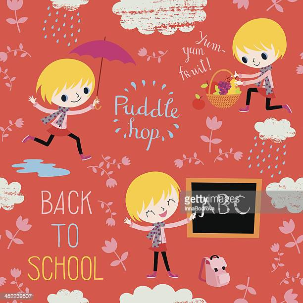 back to school. autumn pattern. - puddle stock illustrations, clip art, cartoons, & icons