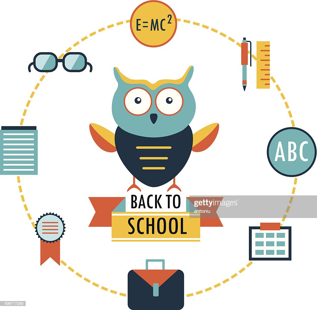Back to school background. Lovely cartoon owl