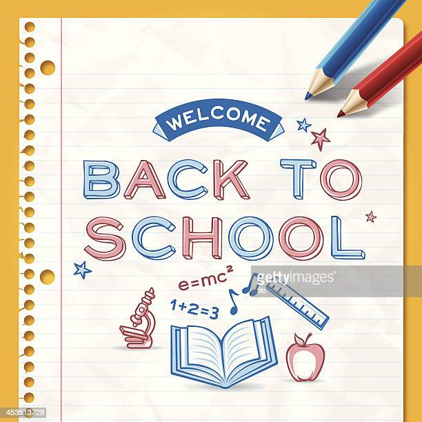 back to school background - lined paper stock illustrations
