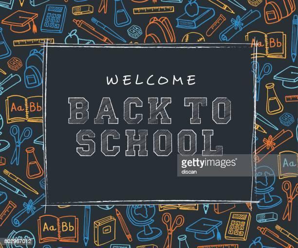 ilustraciones, imágenes clip art, dibujos animados e iconos de stock de volver a escuela de fondo con iconos de línea arte - ilustración - edificio escolar