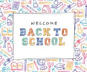Back to School Background with line art icons