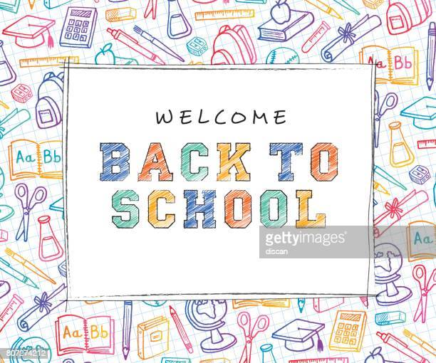 back to school background with line art icons - instructor stock illustrations