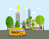 Back to School Background with Yellow Bus Vector Illustration