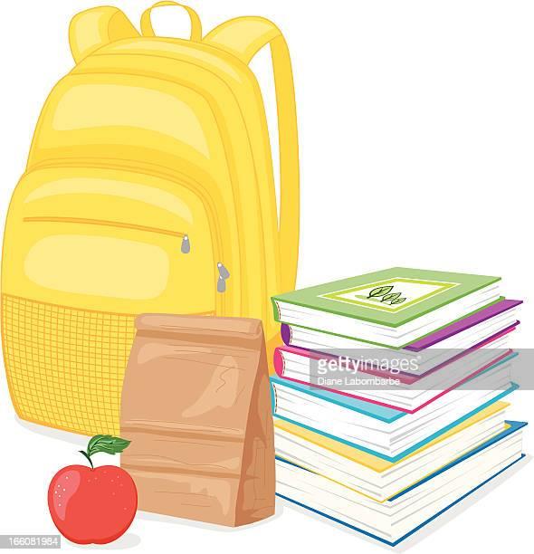 Zurück zu Schule-Rucksack, Bücher und Mittagessen
