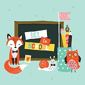 Back to school banner design with cute woodland animals